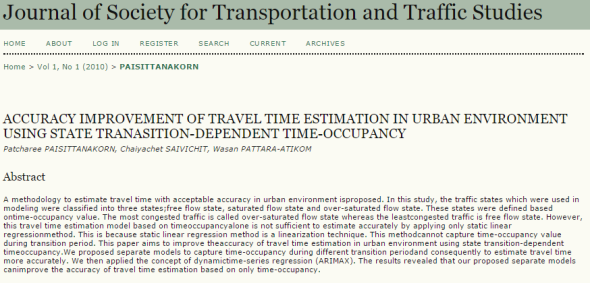 Accuracy Improvement of Travel Time Estimation in Urban Environment using State Transition-dependent Time-occupancy