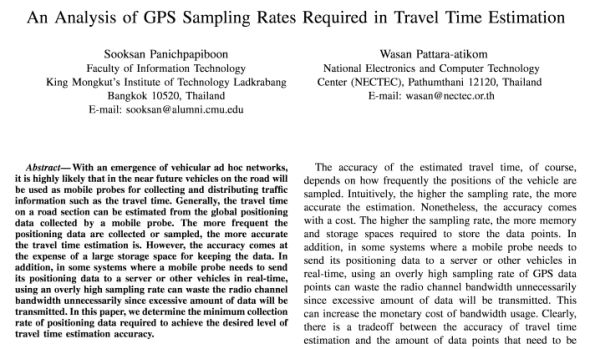 An Analysis of GPS Sampling Rates Required in Travel Time Estimation