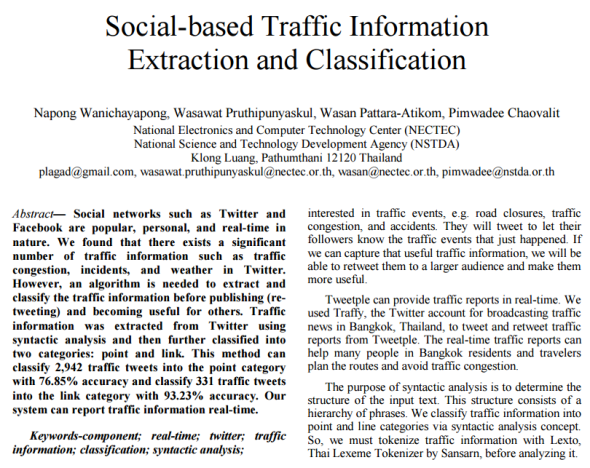 Social-based Traffic Information Extraction and Classification