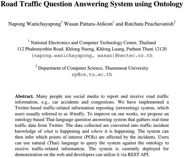 Road Traffic Question Answering System using Ontology