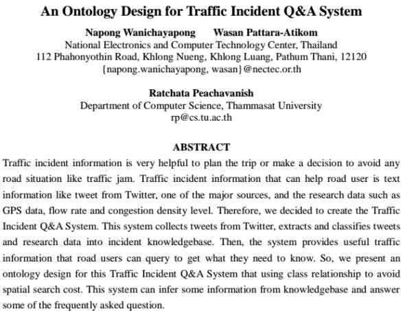 An Ontology Design for Traffic Incident Q&A System