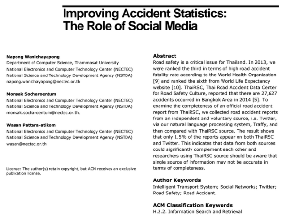 Improving Accident Statistics - The Role of Social Media